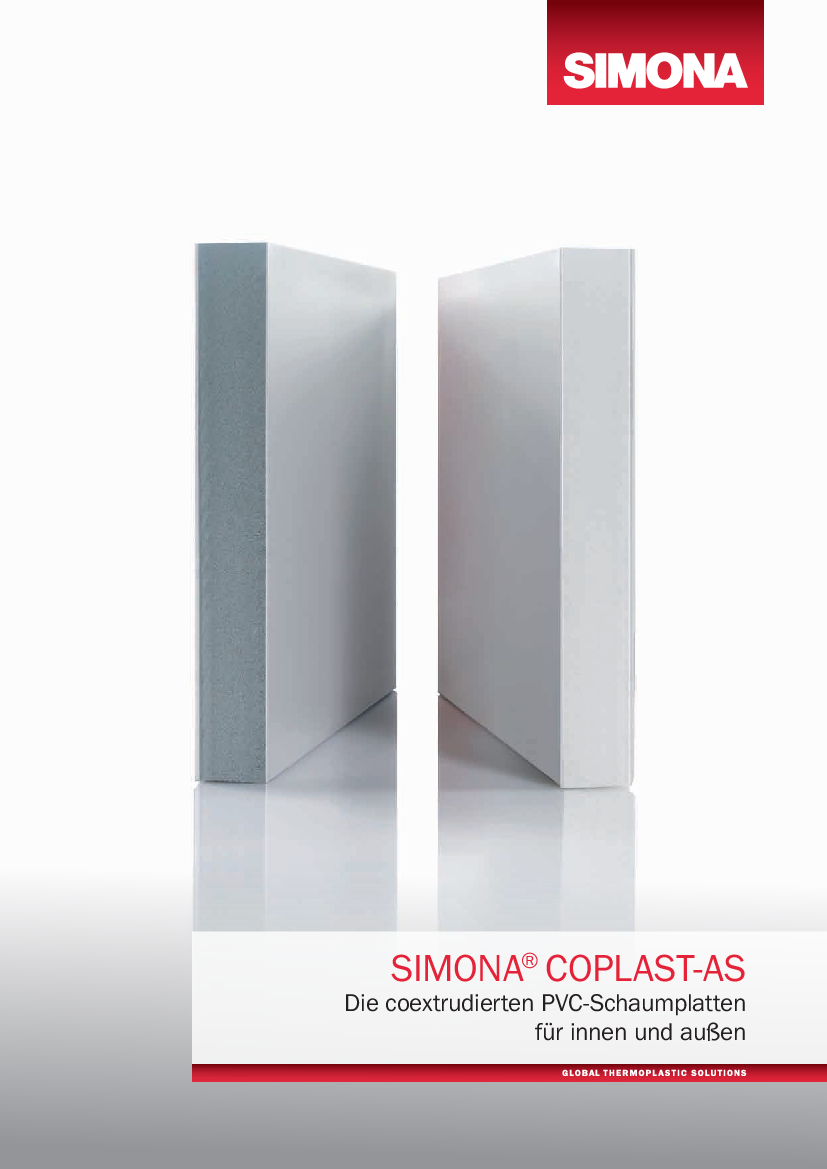 SIMONA® COPLAST AS   Coextruded PVC Foam Sheets For Indoor And Outdoor  Applications Brochures